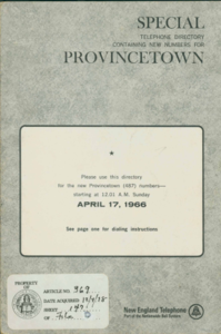 Provincetown Telephone Directory - 1966
