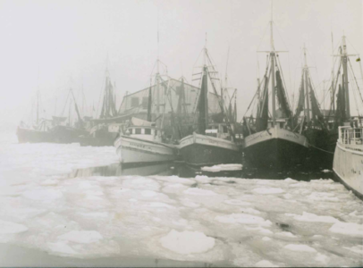 Town Pier with Ships and Ice - Provincetown History Preservation Project