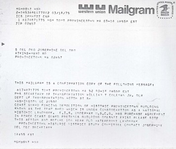 Mailgram  Re Trapshed Demolition From Sec. of Transportattion