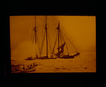 Three Masted Schooner and Lifeboat