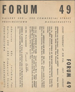 Forum 49 Art Forums July 3, - 28, 1949
