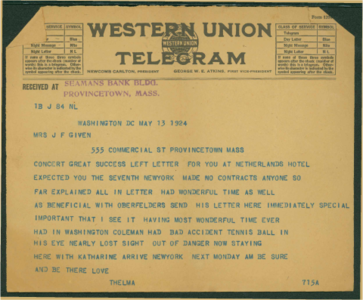 Thelma Given Telegram