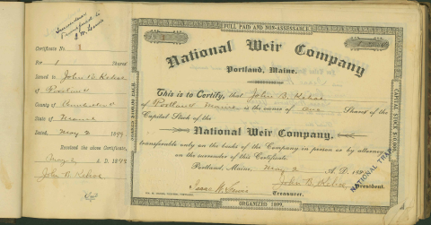 National Weir Co. Stock Certificate Ledger