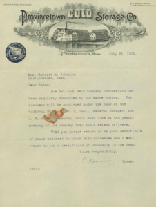 Provincetown Cold Storage Correspondence July 21,1921