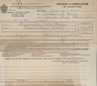 Provincetown Cold Storage 1948 Unemployment Claim Notice