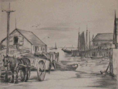 """By the Lumber Wharf, Provincetown"" Elizabeth B. Warren Lindemuth (1886-1960)"
