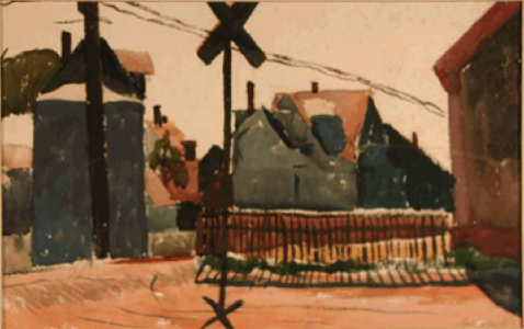 """Untitled (Railroad Crossing, Provincetown)"" Oakley A. Spingler (1908-2003)"