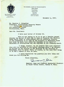 Letter from Senator Edward C. Stone to Maurice C. Brigadier