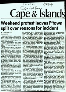 Spiritus - Cape Cod Times article re: town split over handling of incident