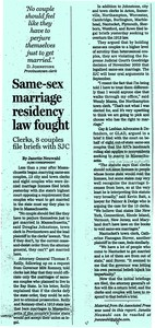 Same Sex Marriage Residency Law Fought
