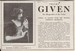 Thelma Given Newspaper Advertisement